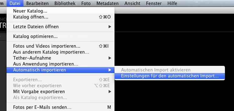 Einstellungen für den automatischen Import im neuen Katalog