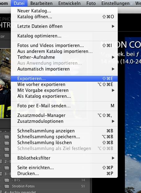 """Zurück im Hauptkatalog, klickt auf """"Datei"""" und """"Exportieren..."""""""