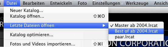 """...unter """"Letzte Dateien öffnen"""" findet ihr immer die zuletzt benutzten Kataloge zur Auswahl!"""