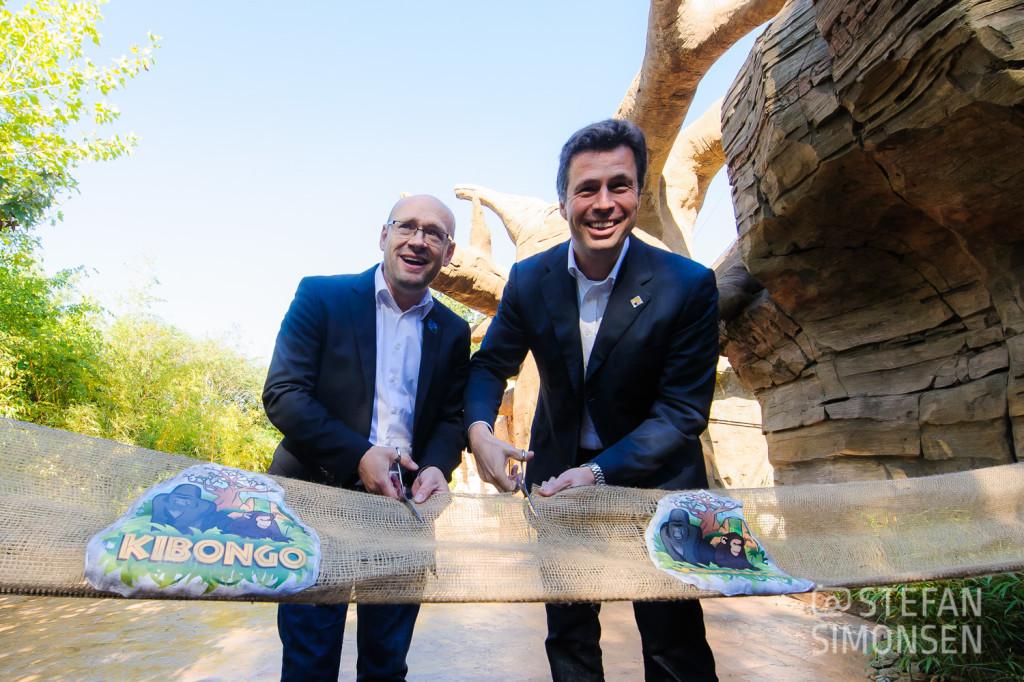 Auch die Zoodirektoren Andreas M. Casdorff und Frank Werner freuten sich sichtlich über die Neueröffnung von Kibongo!