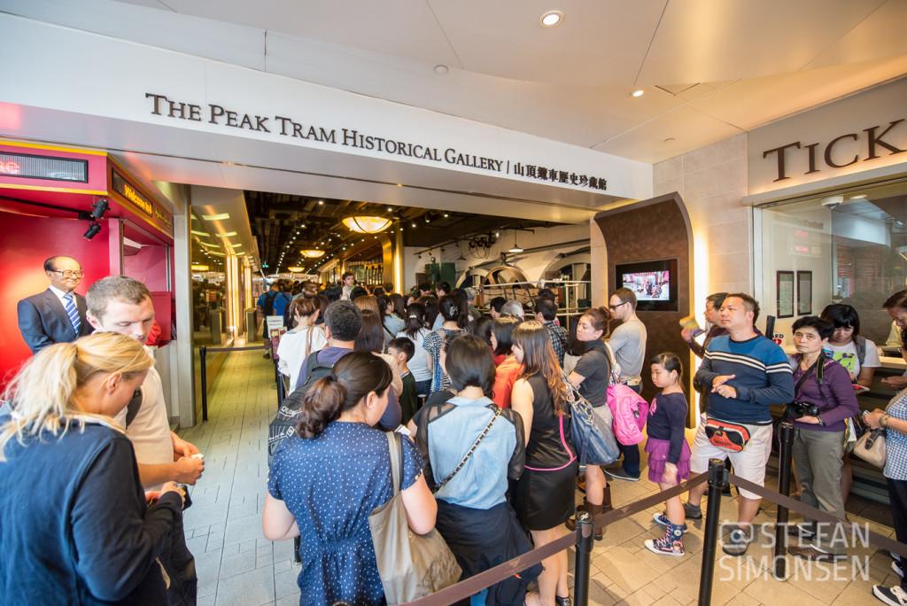 Anstehen für die Peak Tram in Hongkong