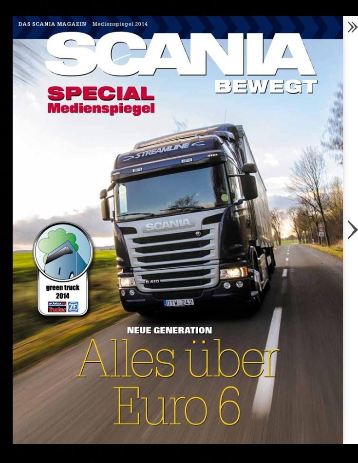 Mein Foto als Titelbild im Scania Medienspiegel