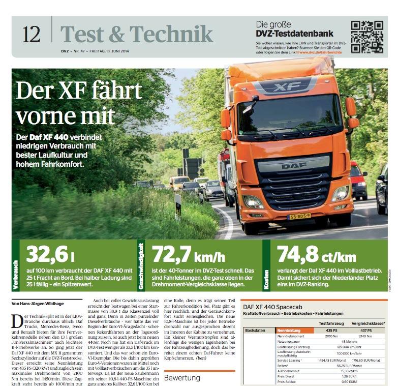 Screenshot vom Artikel der Deutschen Verkehrs-Zeitung (DVZ)